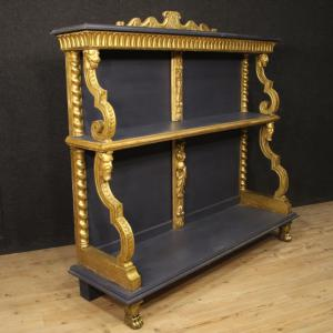 French étagère in gilded and painted wood