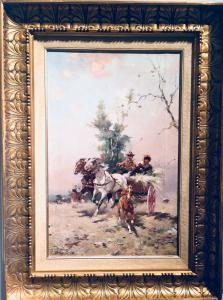 """""""A passagem da carruagem"""" Alfredo Tominz (Trieste 1854 - 1936)"""