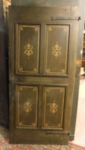 ptl512 - porta in legno a 4 pannelli dipinti, epoca '800, cm l 88 x h 190