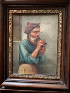 Pintura al óleo sobre lienzo que representa a un hombre fumando una pipa