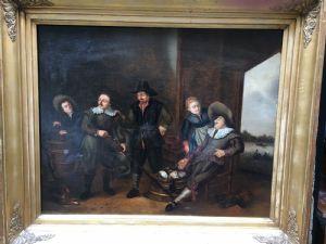 Ölgemälde auf Leinwand mit einer Jägerszene. Flämische Schule Ende des 18. Jahrhunderts