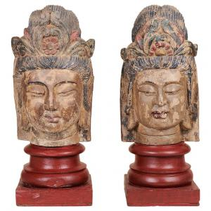 Pair of polychrome wood sculptures