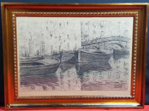 "LOMI GIOVANNI(1889年-1969年)铅笔画""里窝那港"""