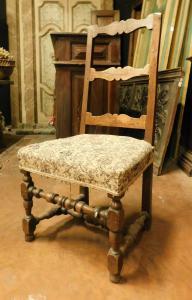 panc91-胡桃木椅子,十七世纪,皮埃蒙特,尺寸cm l 50 xh 106