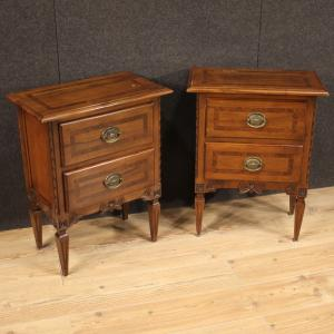 Pair of Louis XVI style wooden bedside tables