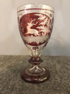 Bohemian Biedermeier glass engraved with deer.