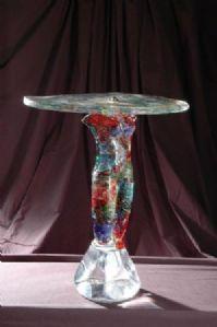 带有多色女性裸色的小墙桌-沃尔特·罗西的杰作-穆拉诺玻璃雕塑-MURANO-威尼斯