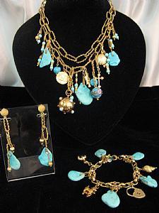 Parure gold and turquoise - Unique piece