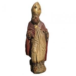 镀金和彩色木雕,描绘了主教
