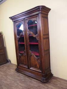 WALNUT BOOKCASE WITH TWO DOORS PROVENCAL STYLE EARLY AGE 800 cm L145xP43xH238 (body measurements)