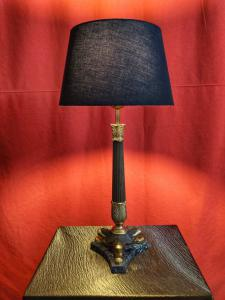 Empire Style Lamp In Bronze And Marble H 50 Cm. 20th Century