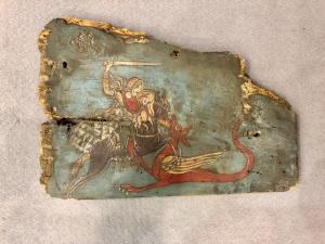 Panel in painted Sicilian cart wood with painted scene Saint George and the dragon.