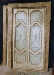 ptl389 due porte a due ante con telaio finto marmo, mis. h cm 253 x 155