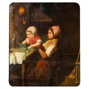 Raro dipinto antico con bambini che giocano - O/6504 -