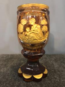 Bohemian biedermeier glass engraved in gold with neoclassical scenes.