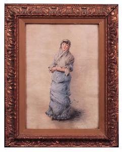 Gemälde signiert Morelli: Porträt einer Dame des 19. Jahrhunderts