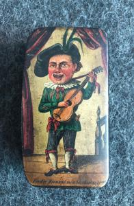 Papier mache snuffbox depicting a scene painted with a jester with guitar.Europa
