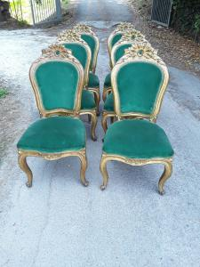 Louis xv style gilded chairs in Lucca, first half of the 1800s, splendid h100 l45x h seat 45 warranty terms of law