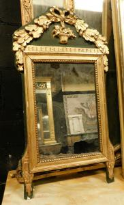 specc333 - mirror in gilded and lacquered wood, 19th century, measuring cm l 42 xh 78
