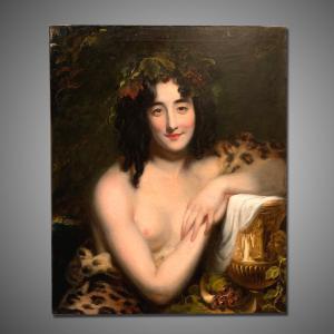 Antiga pintura bacchant jovem do século XIX