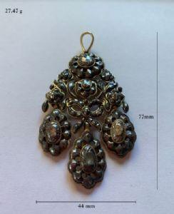 Magnífico pingente espanhol do final do século 18 - ouro, prata, diamantes