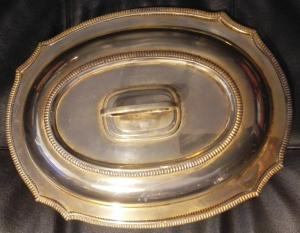 silver vegetable dish, with lid