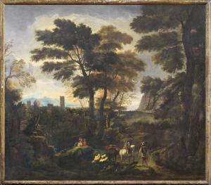 Пейзаж с рыцарем и пастухами
