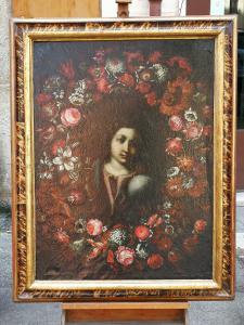 萨尔瓦多·蒙迪(Salvador Mundi),以丹尼尔·塞格斯(Daniel Seghers)的方式在鲜花花环中(安特卫普1590-那里1661)-17世纪下半叶