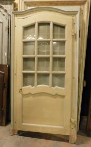 pti671 - porta a vetri laccata, con telaio, misura massima cm l 110 x h 216