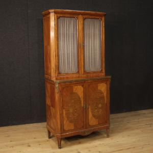 French inlaid bookcase with 4 doors