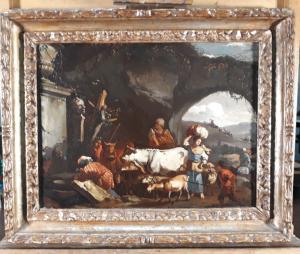 """Attrib. Marzio Masturzo (activo en Nápoles y Roma en la segunda mitad del siglo XVII) """"Escena rural con figuras y rebaños"""""""