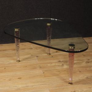 Italian design coffee table in crystal and brass