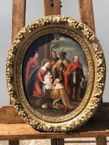Flämisches Ölgemälde auf Holz, das die Anbetung der Könige darstellt.