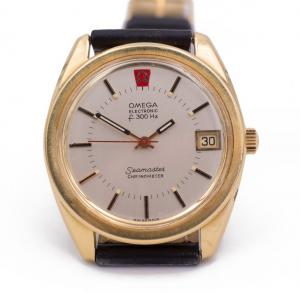 Omega Electronic Seamaster watch in 18k gold