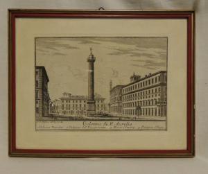 Rome print, Column of M. Aurelio 18 x 14 cm