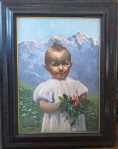 Ritratto di bambina con fiori di montagna