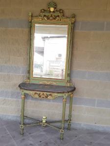 Consolles con specchiera lacca e oro marmo di bardiglio cornocopie e cingni lucca periodo neoclasicco con sedia e poltrona h273xp51xl123 minima 93 garanzia termini di legge