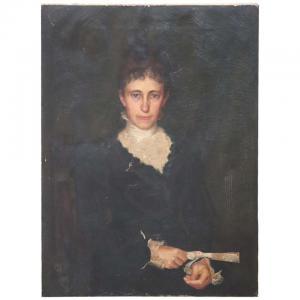 Antiga pintura a óleo sobre tela, retrato de uma senhora do início do século 20 PREÇO NEGOCIÁVEL