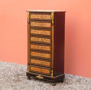 Secretaire scrittoio 'Boulle' con intarsi in ottone, piano marmo, fine '800!