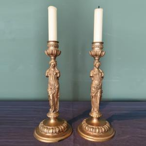 Pair of antique gilded bronze candlesticks signed F.Barbedienne