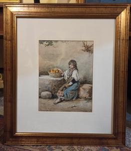 Техническая акварель с изображением девушки - середина XIX века