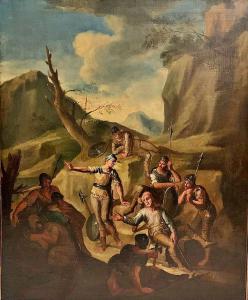 Andrea Locatelli, Coppia di dipinti raffiguranti Soldati a riposo presso un bivacco. 127 cm x 104 cm