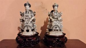 Pair of sculptures in ivory, emperor and empress, late 19th century