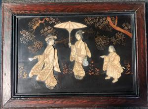Lacquered panel with wooden frame with ivory and mother of pearl characters. Japan
