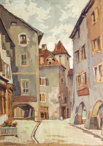 """ Annecy,Rue Perriere""-蛋彩画由RenéCarel撰写,蛋彩画由RenéCarel撰写"