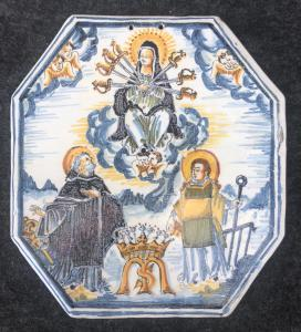 Devotional tile with Our Lady of Sorrows, San Lorenzo and San Benedetto. Faenza Manufacture.