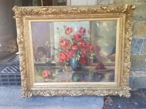 Grande dipinto Vaso con rose cornice dorata '900