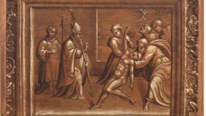 Straordinario dipinto olio su tavola raffigurante San Ubaldo che esorcizza un indemoniato.GIROLAMO DA TREVISO.XV secolo