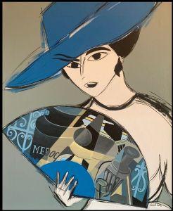 当代西班牙学校 - 带扇子的女人