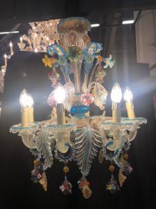 Lustre de vidro de Murano 6 chamas de água do mar